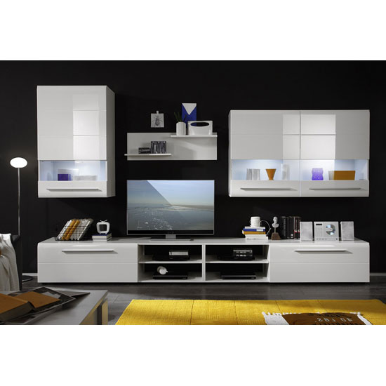 Day Living Room Furniture Set In White High Gloss With Led