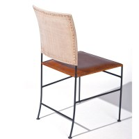 Rosi Dining Chair Canvas Leather French Design Metal Frame