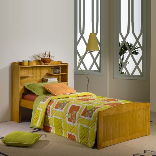 Bookcase Stylish Wooden Single Bed In Honey Pine 27442