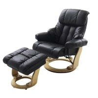 Calgary Relaxing Chair In Black Leather And Oak With Foot