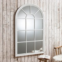Fulham Wall Mirror In White With Window Pane Design 26985