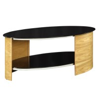 Bent Wood Oval Shape Coffee Table In Black Glass With Oak
