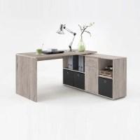 Flexi Wooden Corner Computer Desk In Sand Oak With Storage