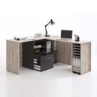 Weimar Corner Computer Desk Cum Sideboard In Sand Oak