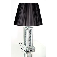 Rosalie Table Lamp In Black Shade With Mirrored Base 25586