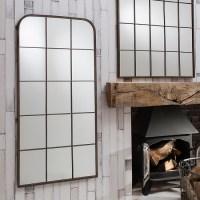 Rickard Wall Mirror In Rustic Metal With Window Pane Design