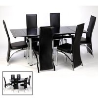 Sarah Extending Dining Table And Chairs In Black 15394