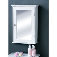 Bathroom cabinet in white wood with a mirrored door,