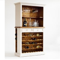 Boddem Display Cabinet In White Pine With Wine Rack 25355