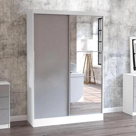 Carola Mirrored Sliding Wardrobe In White And Grey High