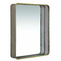 Coastal Large Wall Mirror Square In Antique Gold Brass