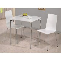 Fiji High Gloss Small Dining Set in White 19034 Furniture