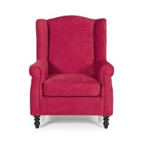 Jaxon Stylish Sofa Chair In Red Fabric With Wooden Legs