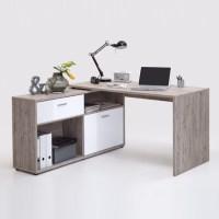 Mattia Corner Computer Desk In Sand Oak And White High