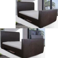 New York Modern Leather King Size Bed With TV Mount 10921