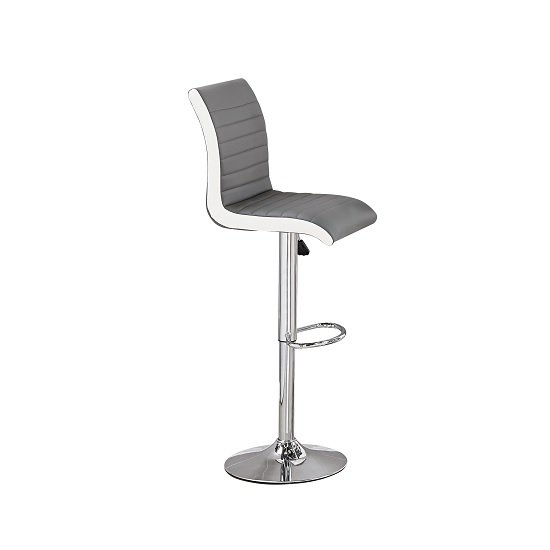 Ritz Bar Stool In Grey And White Faux Leather With Chrome