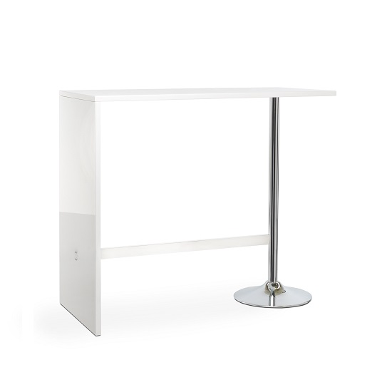 Tuscon Bar Table Rectangular In White High Gloss With