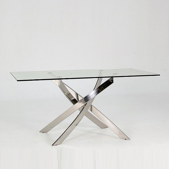 Xenon Dining Table In Clear Glass With Stainless Steel Base