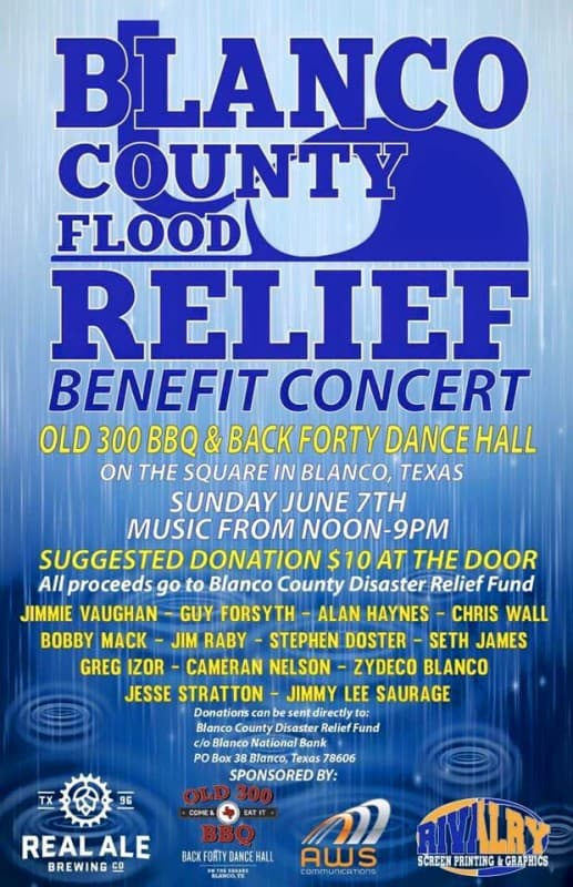 Blanco County Flood Relief Benefit Concert - disaster relief flyer