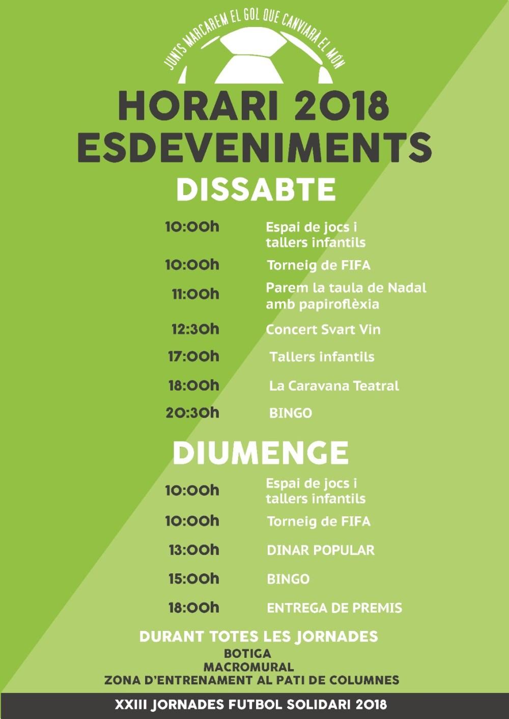 Horari Esdeveniments XXIII Jornades Futbol Solidari