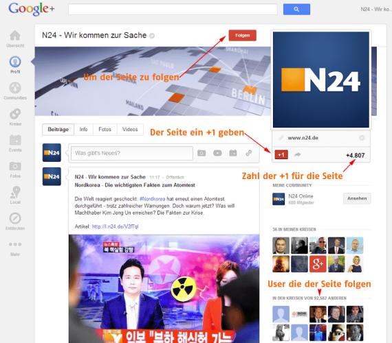 Google+ Seiten +1 Button