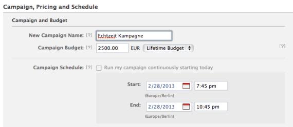 Facebook Anzeigenkampagne planen
