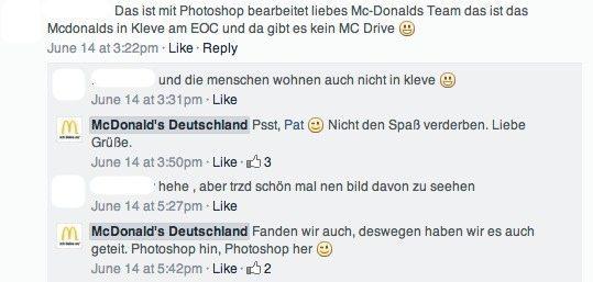 Community Management Case McDonald's Deutschland - Kommentare