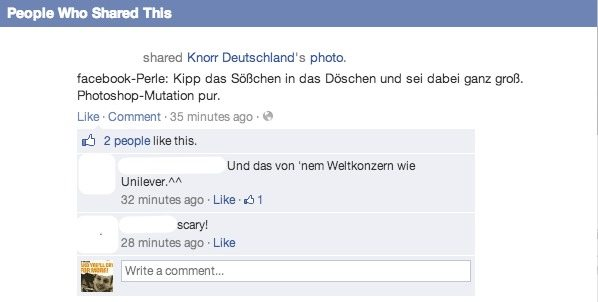 Facebook Anzeigen Fail - Knorr Deutschland Shares
