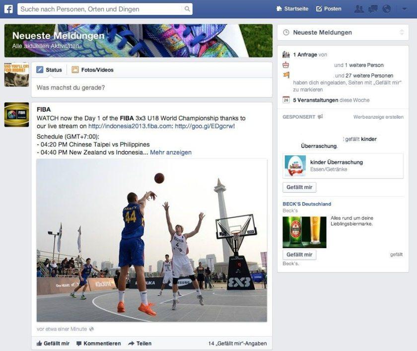 Facebook News Feed Interaktionen