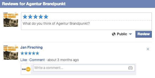 Facebook Ortsseiten - Ansicht öffentliche Bewertungen kommentieren