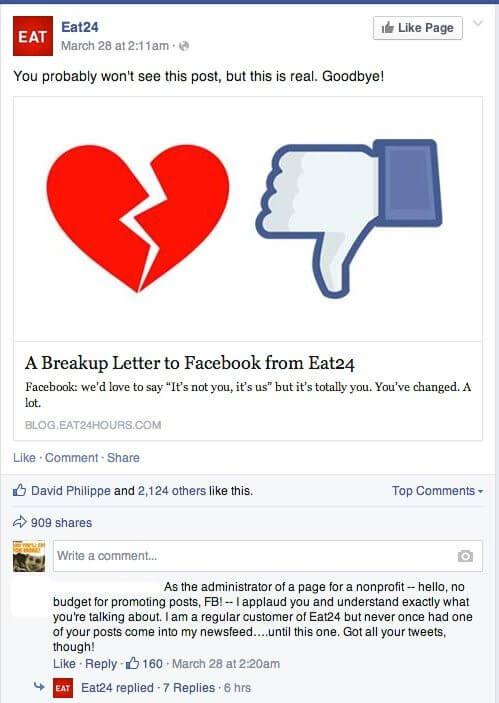 Eat24 stellt Facebook Seite ein - Organische Reichweite Facebook
