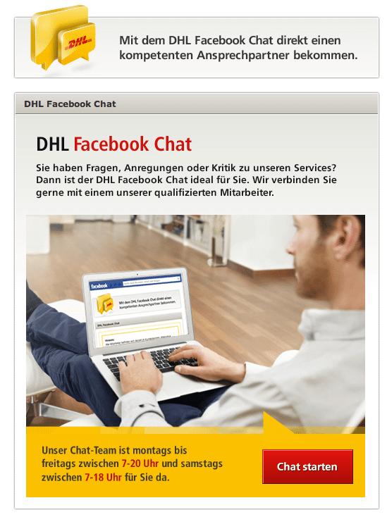Kundensupport Facebook - DHL Chat App