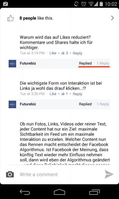 Facebook Antwortfunktion für Kommentare in mobile Apps