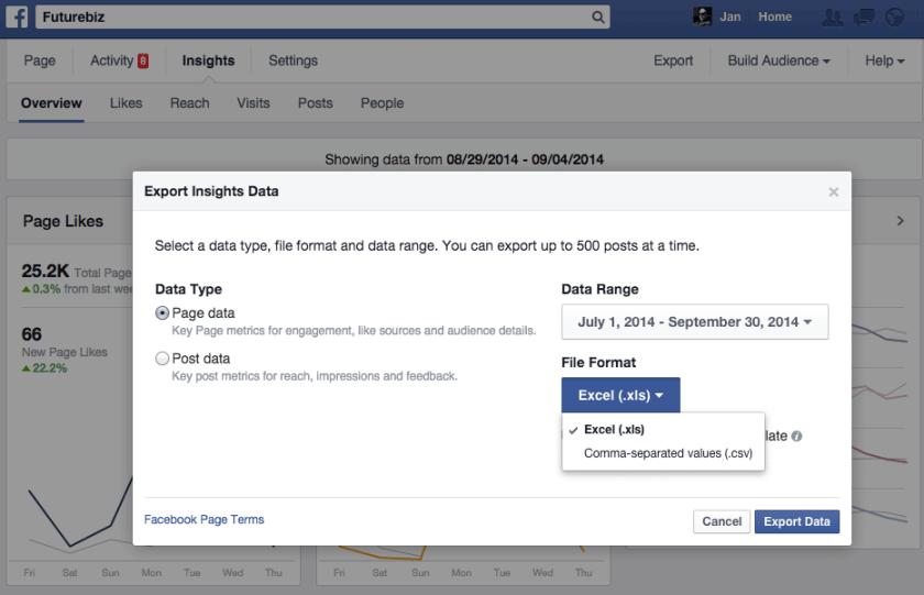 Facebook Statistiken - Export von Seitenstatistiken