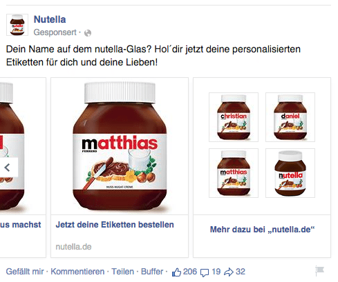 Facebook Multi Product Ads - Beispiel Nutella 3