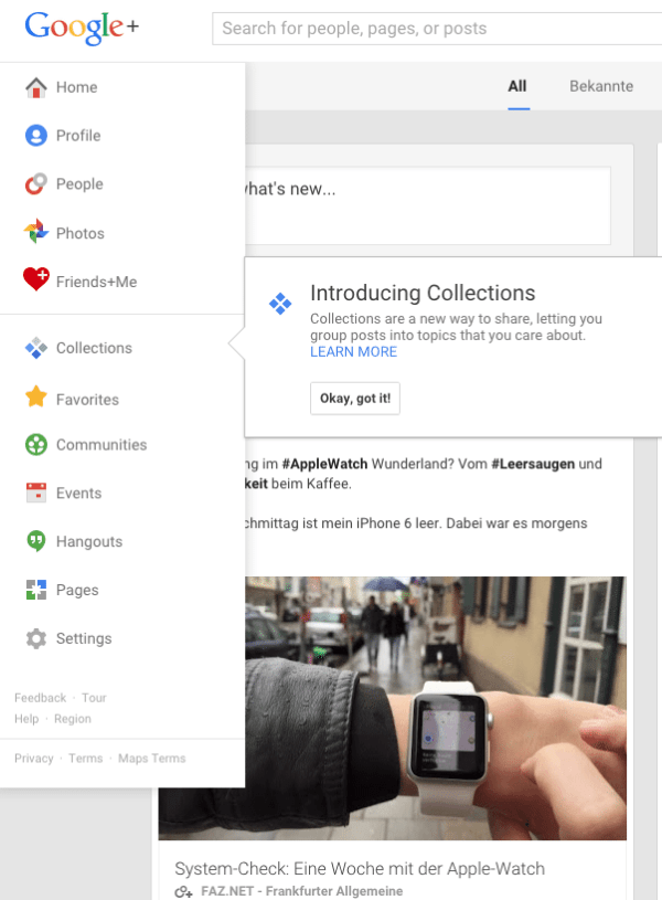 Google+ Features - Google+ Collections