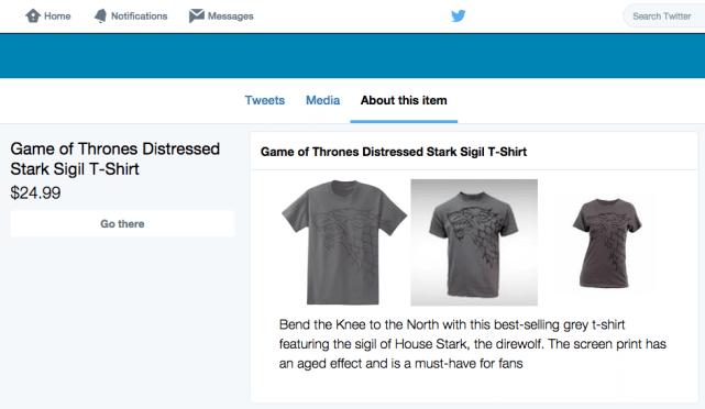 Twitter Collections - Detailansicht Produkt mit Link zu Online-Shop