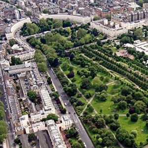 Aerial view of Regent's Park and Park Crescent