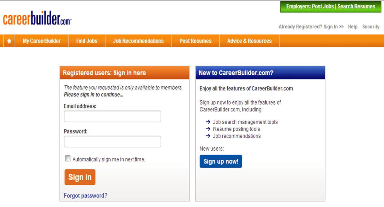 resume search jobs careerbuilder my careerbuilder page once you are signed in please select resume