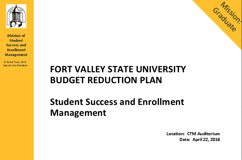 Student Success and Enrollment Management Budget Proposal