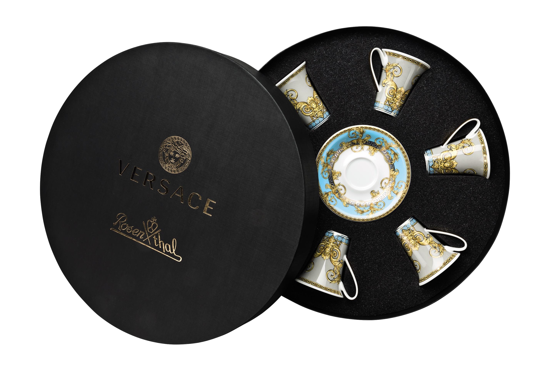 Versace Prestige Gala Bleu Ad Cup Saucer Set Six Rount