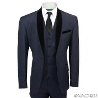 Mens Black Velvet Shawl Lapel Blue Tuxedo Dinner Suit 3 ...