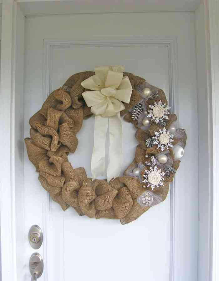 Elegant burlap and snowflake wreath fynes designs for Burlap wreath with lights