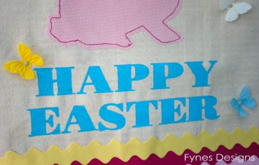 Painted Muslin Easter Bunny wall hanging from fynesdesigns.com