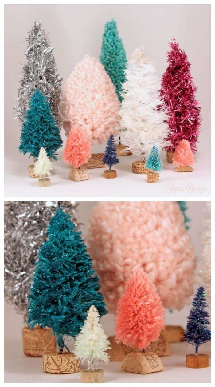 Colourful bottle brush trees made with unique materials