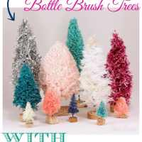 Handmade Bottle Brush Trees with Yarn, Twine, Garland, & Rope