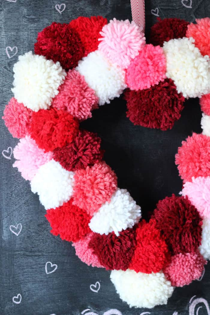 Valentines Day Pom Pom Wreath