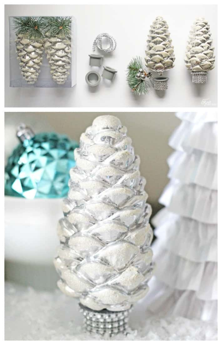 How to make small trees from shatter proof Pinecone ornaments