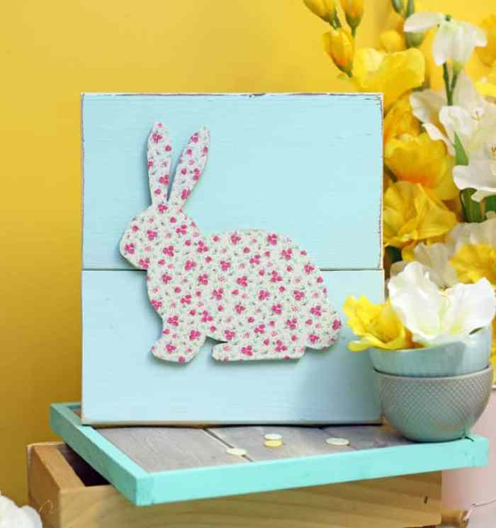 Bunny cut out in vintage florals