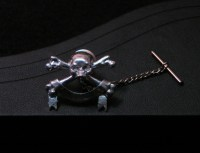 Silver Skull and Crossbones Tie Tack
